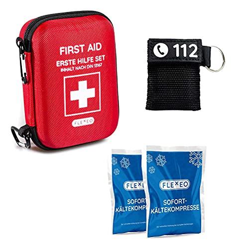 FLEXEO Erste Hilfe Set Traveller ideal für Outdoor, Reisen, Motorradfahren und Sport nach DIN 13167 - Professional Set