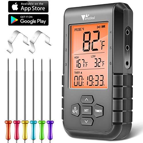 amzdeal Digitales Fleischthermometer - Grillthermometer mit 6 Sonden und Bluetooth, LCD Bildschirm, Alarm und Timer, Schnelle und Genaue Ablesungen, APP Steuerung, für BBQ, Ofen, Milch