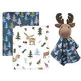 Hudson Baby Unisex Baby Plush Blanket with Security Blanket, Boy Moose, One Size