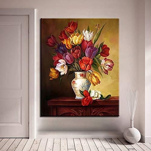 QAZEDC DIY digitaal schilderij DIY olieverfschilderij cijfers bloemen DIY abstract vaas tulpe design unieke cijfers handgeschilderd afbeeldingen op canvas muurkunst decoratie