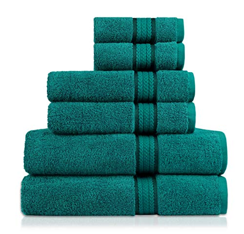 COTTON CRAFT Ultra Soft Luxury 6 Piece Ringspun Cotton Towel Set, 580GSM, Heavyweight, 2 Bath Towels, 2 Hand Towels, 2 Washcloths, Teal