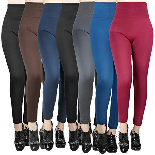 Moon Wood 7 Pack Women's Fleece Lined Leggings High Waist Soft Stretchy Winter Warm Leggings