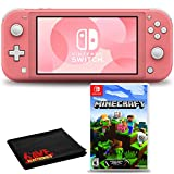Nintendo Switch Lite (Coral) Console Bundle with Nintendo Minecraft Game and 6Ave Cleaning Cloth