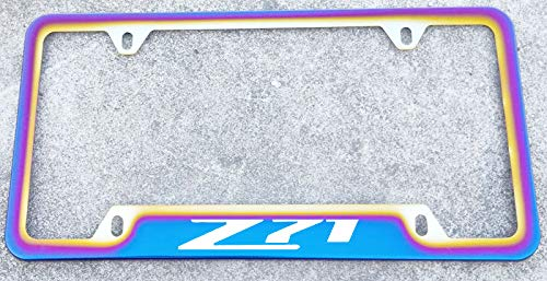 Estodian Blue Burnt Rainbow Chameleon Colorful Z71 Car License Plate Tag Holder Frame for GMC Chevy Z71 Stainless Steel (1)