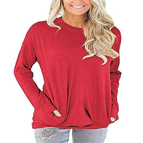 LUOYLYM T-Shirt à Manches Longues à Manches Longues pour Femmes, Sweat à Capuche décontracté Sweat-Shirt Rouge XXXL