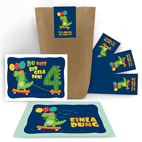 8 Einladungskarten zum 4. Kindergeburtstag Jungen Jungs Mädchen Dinosaurier Einladungen vierte Geburtstag incl. 8 Umschläge, 8 Tüten / Natur, 8 Aufkleber