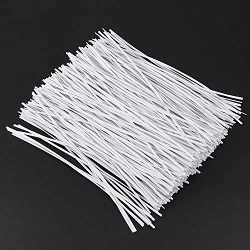 Hemoton Kabelbinder Weiß Kunststoff Pflanze Drehbinder Blumendraht für Taschen Gartengeräte 500 Stück,15 x 0,18 cm