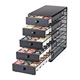 Nifty Coffee Pod Drawer – Black Satin Finish, Compatible with K-Cups, 90 Pod Pack Capacity Rack, 5-Tier Holder, XXL Storage, Stylish Home or Office Kitchen Counter Organizer