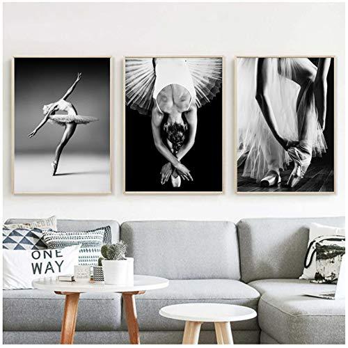 HYFBH Impresiones en HD Imágenes Estilo nórdico Bailarina de Ballet Póster Modular Blanco y Negro Pintura Lienzo Fresh Home Wall Art Decoración de la Sala 60x80cm (23.6
