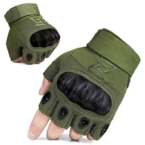 FREE SOLDIER Outdoor Handschuhe Herren Taktische Trainings Motorradhandschuhe Kletter Tactical Handschuhe Vollfinger Fingerlose Handschuhe Passend Für Wander Klettern Radsport Arbeiten(XL,Armeegrün)