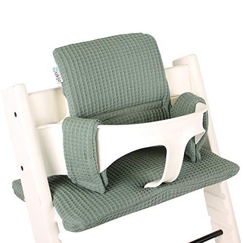 Sitzkissen Sitzverkleinerer Kissen von UKJE für Stokke Tripp Trapp Baby Set Waffelpique Schön und dick gepolstert Jade/Grün Maschinenwaschbar 2-teilig Öko-Tex Baumwolle