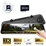 Karsuite M7 Backup Camera 12' Mirror Dash Cam, 2560x1440P Dash Cam Front and Rear Full Touch Screen Video Streaming Rear View Mirror Camera,64GB TF Card Included