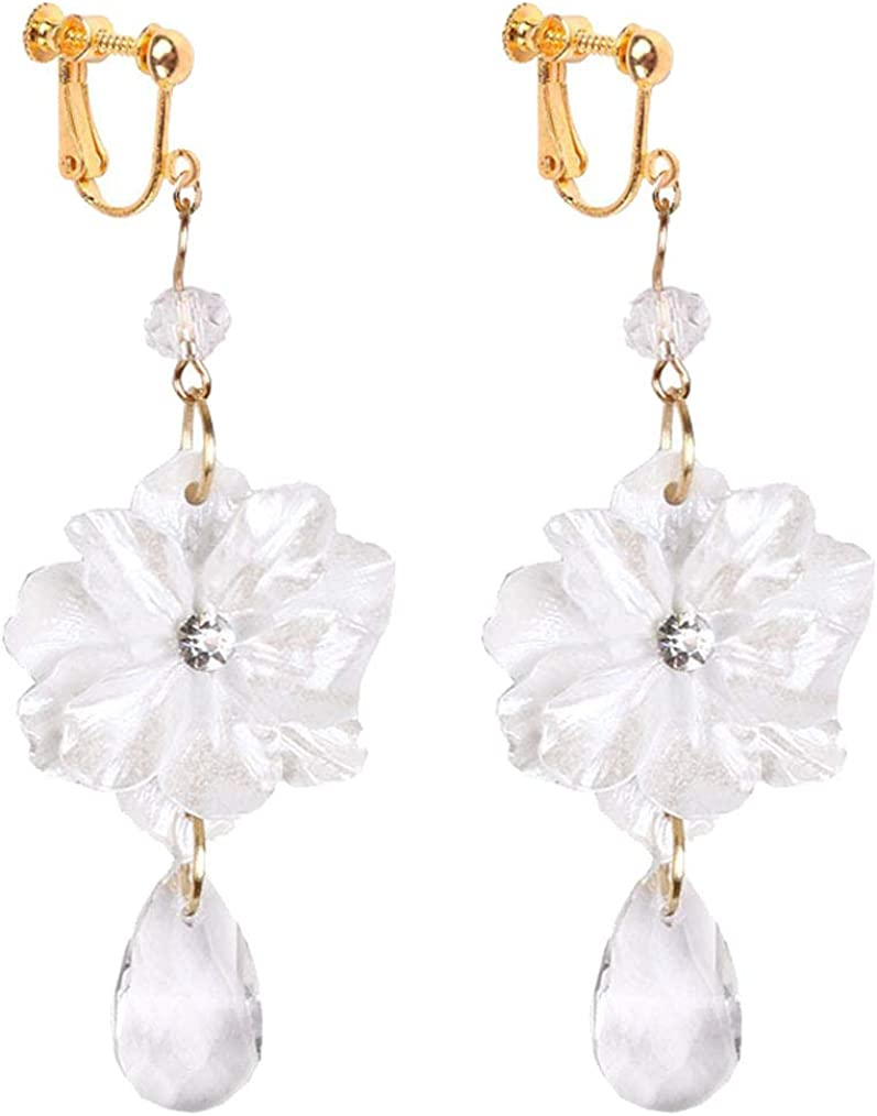 Gold Plated Clip on Earrings White Resin Flower Dangle Crystal Drop Non Pierced for Girls Women