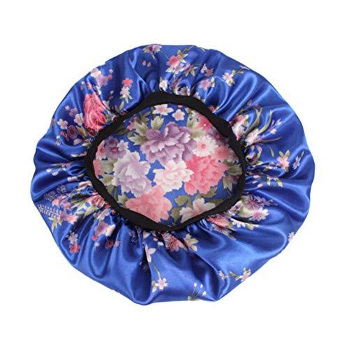 Lurrose Slapen Zijden muts Elastische slaapmuts voor vrouwen meisjes haarverzorging (blauwe bloemen)