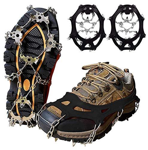 ZESHIZE Premium Steigeisen für Bergschuhe mit 19 EdelstahlSpikes, Steigeisen Grödel Eisspikes für Klettern Bergsteigen Trekking High Altitude Winter Outdoor (schwarz, XL(44-47))
