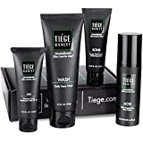 Tiege Hanley Men's Acne System - Level 1 | Acne Treatment Products for Men | Routine Set Contains: Face Wash, Moisturizer, Face Scrub & Salicylic Acid Acne Cream | Uncomplicated Skin Care for Men