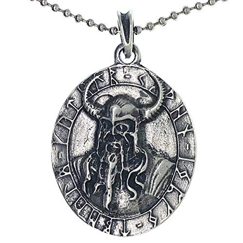 Viking Jewelry Odin King of Asgard Asgardian Norse Celtic Pewter Men's Pendant Necklace Repel Evil Wealth Money Lucky Charm Protection Amulet Victory Talisman Safe Travel Medallion w Silver Ball Chain
