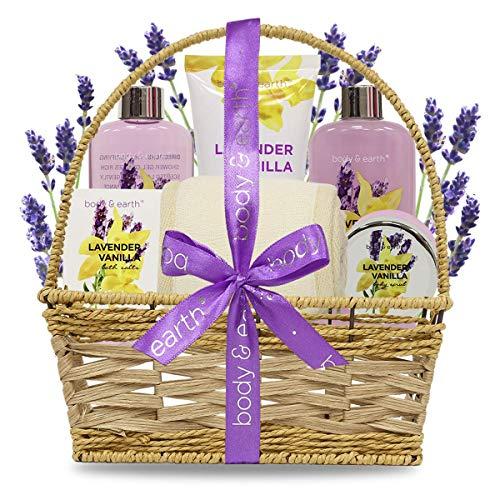 Set da bagno, Body & Earth cesto regalo da bagno in 6 pezzi con profumo di lavanda e vaniglia,miglior regalo per compleanno