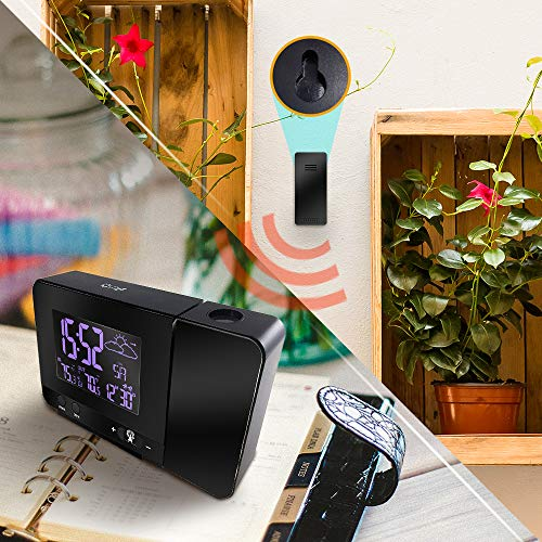 Protmex Projection Alarm Clock, PT3531B WWVB Digital Radio Controlled Projection Clock with Weather Station, Dual Alarms, Indoor Thermometer, USB Phone Charging, Colorful Backlight Function