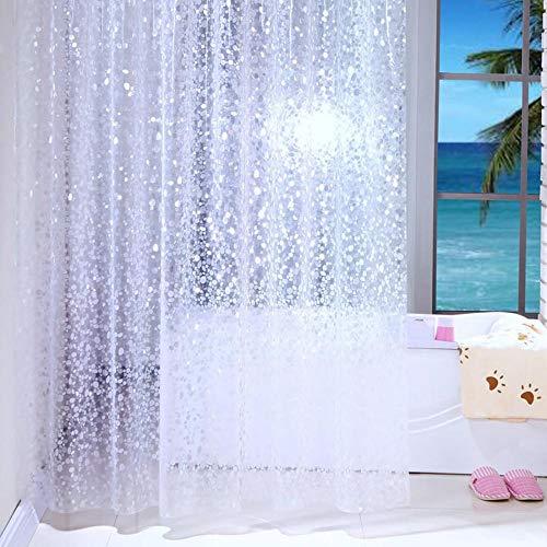 Transparente Duschvorhänge weiß wasserdicht Badezimmer Gardinen transparent Badvorhänge mit Duschvorhanghaken (150 x 200 cm)