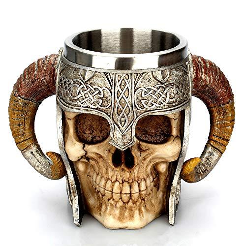 450ml schedel ridder of schedel hoorn mok roestvrij staal koffie thee water drinken bekers