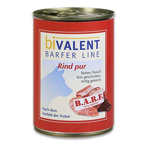 biVALENT BarferLine Rind pur Hundefutter nass – 100% Rind rohes Fleisch I fein geschnitten I Nassfutter Hundenassfutter für Hunde (12x400g)