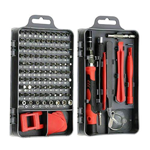 DBSUFV Destornillador de precisión 110/115 en 1 Mini Juego de Destornilladores eléctricos para teléfono, Tableta, Juego de Herramientas para el hogar (Rojo)