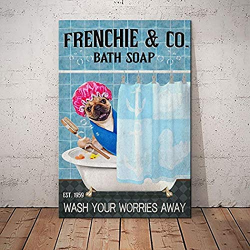 Personalized French Bulldog Company Canvas Wall Art Canvas 0.75 Inch, Home Decor (Size 8x12, 12x18, 16x24, 24x36 Inches)