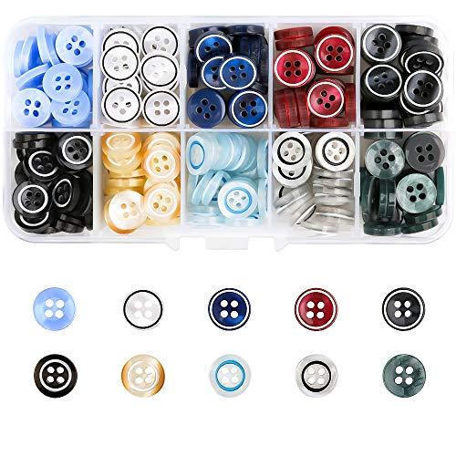 250 Stück Farbige Knöpfe Kunststoff Batelknöpfe für Hemd Knöpfe mit Vier Augen zum Nähen und Patchen von Strickjacken Kleidung Textilien