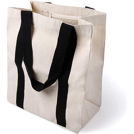 BagCouture stylische geräumige Tragetasche   mit Innentasche, Reißverschluss, und großem Boden   Baumwolltasche   Handtasche   Einkaufstasche   Segeltuch Material