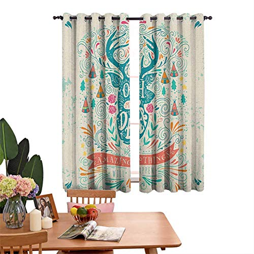 DRAGON VINES Insulated Solid Grommet top Curtain Reindeer with Antlers with Native American Tribal Element and Flowers Motivational Multicolor Indoor Decoration Set of 2 Panels W55 x L45