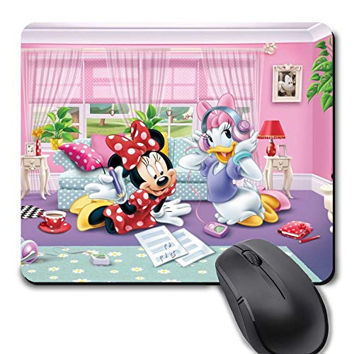 Rectangle Gaming Mouse Pad, Cute Mouse Pad with Minnie Mouse and Daisy Duck Design Mousepad Mouse Mat with Non-Slip Rubber Base(9.5 x 8 inch)