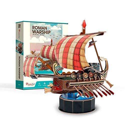 HLFGJE DIY, Rompecabezas 3D para Adultos y niños, Bricolaje, Regalos de cumpleaños, Rompecabezas de Barcos de fama Mundial (Barco de Dibujos Animados),Ancient Roman Warship
