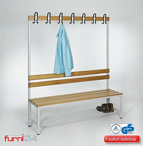 furni24 Umkleidebank Sitzbank Sportbank einseitig mit Garderobenhaken und Schuhrost 150 cm x 170 cm x 43 cm