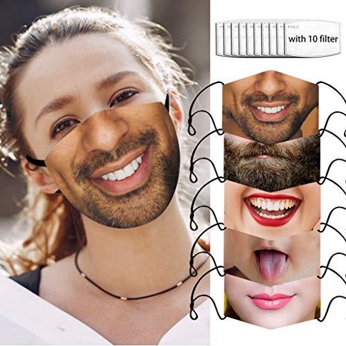 5 Stück Lustiger Mundschutz mit Motiv Waschbar, Mundbedeckung Stoff 3D Atmungsaktive Gesichtsschutz Wiederverwendbar Für Erwachsene
