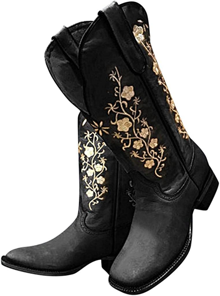 Women's Low Chunky Heel Mid Calf Booties Retro Floral Embroidery