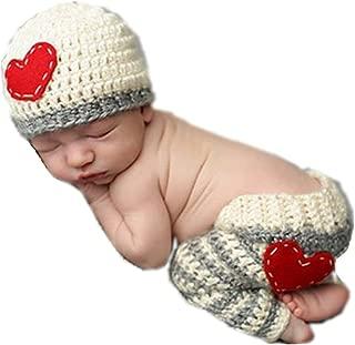 Cute Newborn Baby Boy Girl Infant Heart Crochet Costume Photo Photography Props 0-6 Months