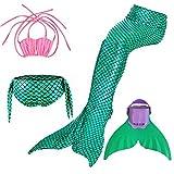 SPEEDEVE Traje de Baño de Cola de Sirena con Traje de Bikini para Niñas,Verde,130
