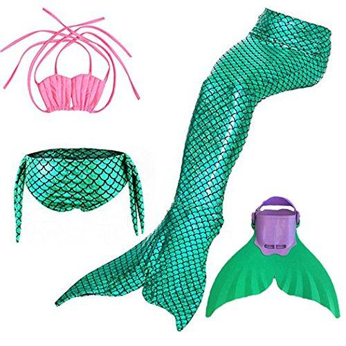SPEEDEVE Mädchen Meerjungfrauenschwanz Zum Schwimmen mit Meerjungfrau Flosse, 12 (130-140cm), Green