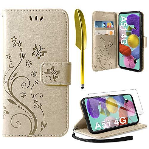 AROYI Cover Compatibile con Samsung Galaxy A51, Retro Design Flip Caso in PU Pelle Premium Portafoglio Slot per Schede Chiusura Magnetica Custodia Compatibile con Samsung Galaxy A51 Gold