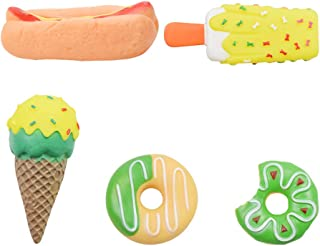 VILLCASE 5pcs Pet Squeaky Toy Pet Squeakers Vinyl Dog Squeak Toys Dog Teething Chewing Dolls Dessert Food Shaped for Dog C...