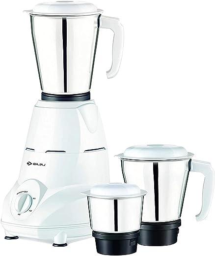 Bajaj Rex 500W Mixer Grinder with Nutri-Pro Feature, 3 Jars, White