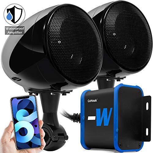 "GoHawk TN4-W Waterproof Amplifier 4"" Full Range Bluetooth Motorcycle Stereo Speakers 1 to 1.25 in. Handlebar Mount Audio Amp System Harley Touring Cruiser ATV 4-Wheeler, USB, AUX, FM Radio"