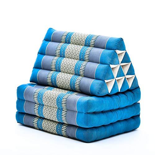 Leewadee colchón Plegable con Tres segmentos – Futón con cojín Hecho a Mano de kapok, colchoneta tailandesa, 170 x 53 cm, Azul Claro