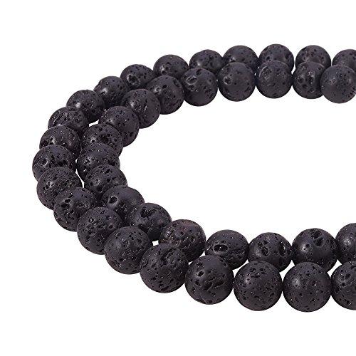PandaHall Elite natürlichen schwarzen Lava Stein Rock Edelstein Edelstein Runde lose Perlen für Schmuck Machen Zubehör (8mm x 1 Strang)