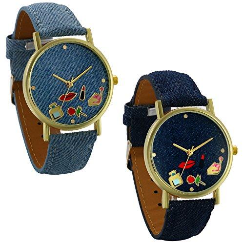 Lancardo 2PCS Herren Damen Armbanduhr, Casual Analog Quarzuhr mit rote Lippen Paar Denim-Stoff Armband Uhr, blau