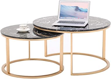 Nesting Coffee End Tables Modern Furniture Decor Stacking Side Table for Living Room Balcony Home and Office, Marble Top & Me