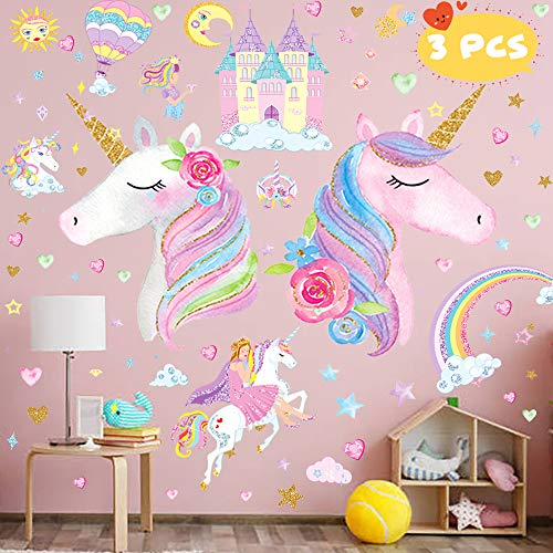 3 Sheets Large Size Upgrade Unicorn Wall StickerUnicorn Wall Decals Decor with Rainbow Castle Birthday Christmas Gifts for Boys Girls Kids Bedroom Decor Nursery Room Home Decor