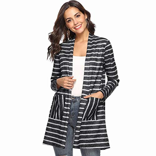 Good dress Herbst und Winter Mantel Pocket Stitching Stripe Schal Lange Strickjacke, Schwarz, m