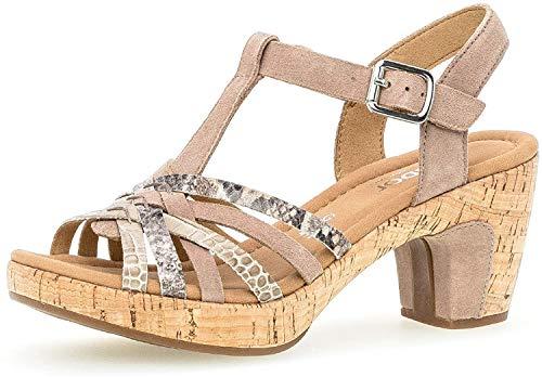 Gabor Damen Sandalen, Frauen Sandaletten,leichte Mehrweite, Sandaletten Sommerschuhe offene Absatzschuhe hoher,Rabbit/beige(Kork),38.5 EU / 5.5 UK